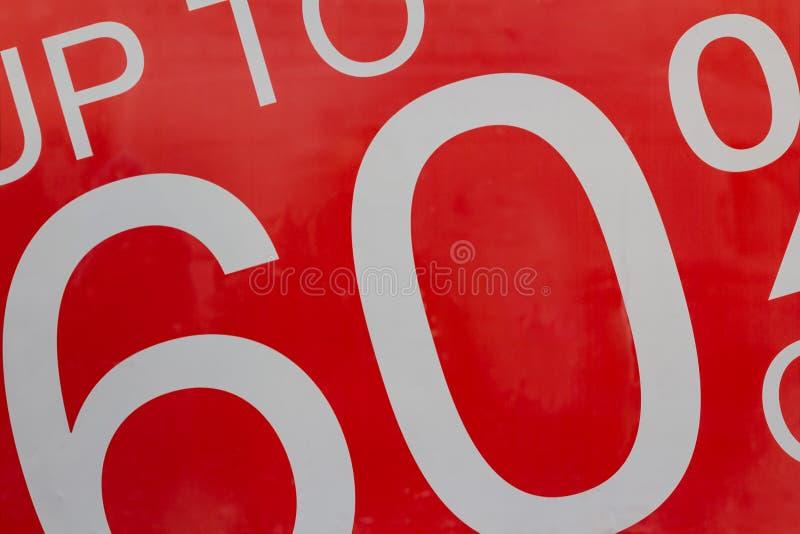 Rewolucjonistki szyldowa sprzedaż do 60 odsetków daleko w sklepowym nadokiennym pokazie zdjęcia royalty free