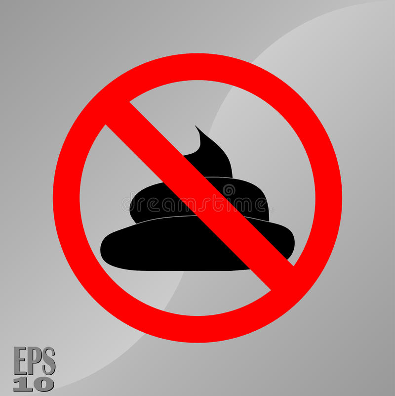 Rewolucjonistki szyldowy zabraniać gówno, czyści up po zwierzę domowe symbolu ilustracji
