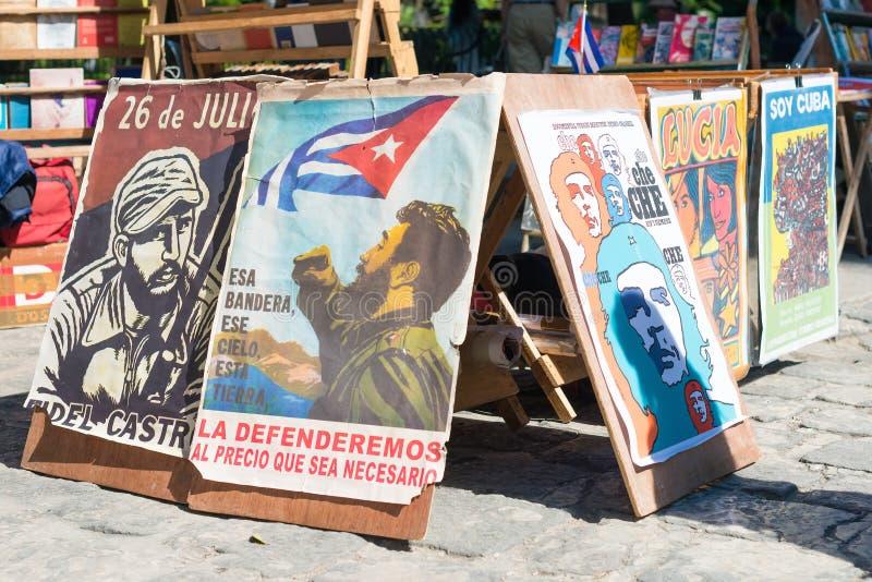 Rewolucyjni plakaty dla sprzedaży w Hawańskim obraz royalty free