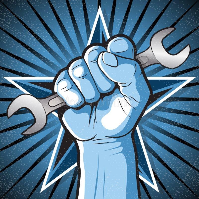 Rewolucyjny Uderza pięścią pięści i Spanner znak ilustracja wektor