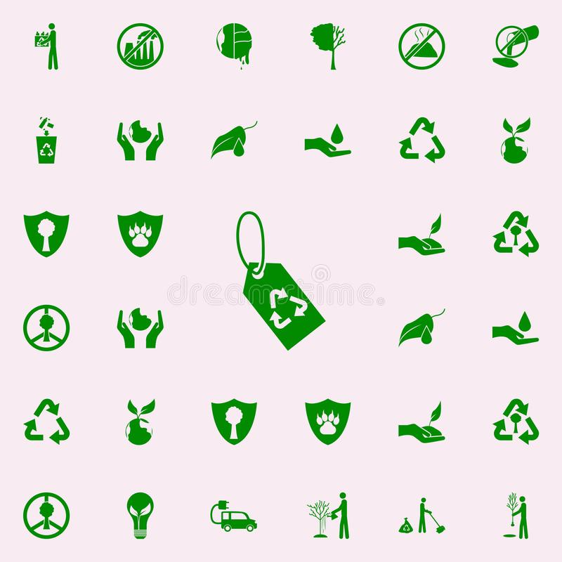 Rework tag green icon. greenpeace icons universal set for web and mobile. On colored background vector illustration