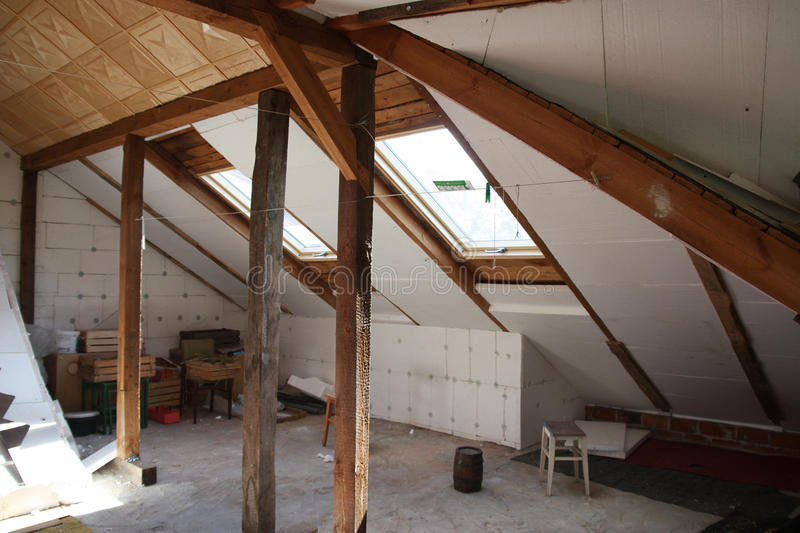 Before reworking. (renovation) of the old attic stock photo