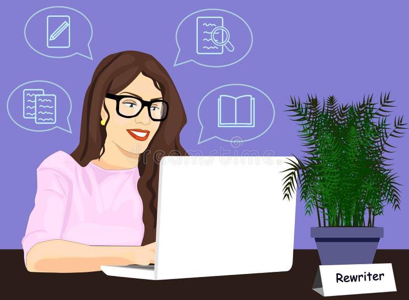 Rewritermädchen, das an Laptopvektorikone arbeitet Konzept des Neuschreibens der Illustration Schreibenartikel der Frau auf Compu lizenzfreie abbildung