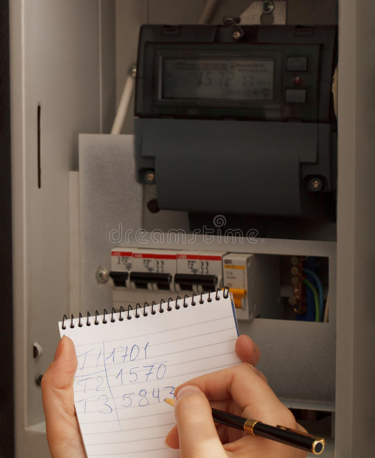 Download Rewriting Of The Electrical Meter Readings Stock Image - Image of moscow, back: 33050753