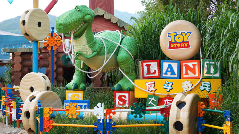 Rex bij de ingang aan Toy Story Land in Hong Kong Disneyland royalty-vrije stock foto's