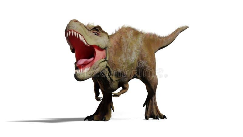 Rex de tyrannosaure hurlant, illustration du dinosaure 3d de T-rex d'isolement avec l'ombre sur le fond blanc illustration stock