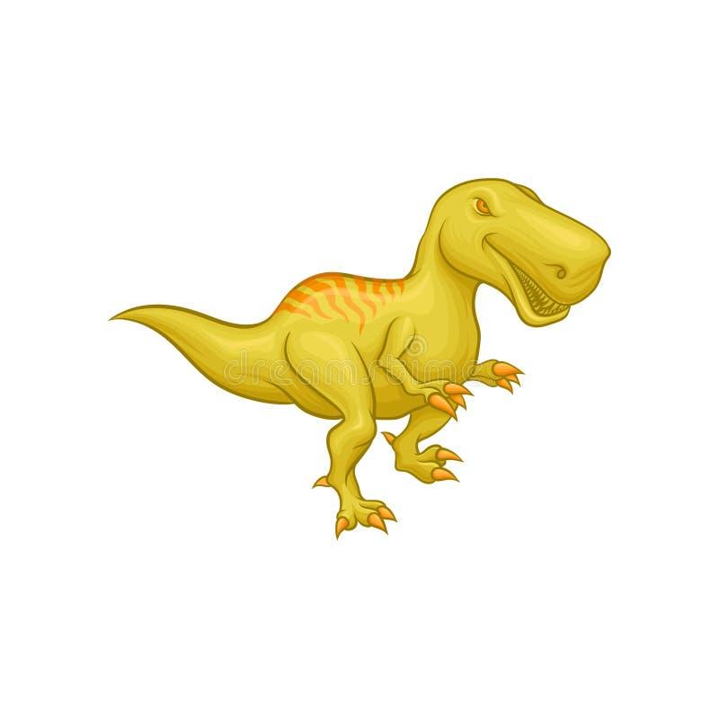 Rex de tyrannosaurus de dessin animé Reptile préhistorique Grand dinosaure vert Élément plat coloré de vecteur pour le jeu mobile illustration libre de droits