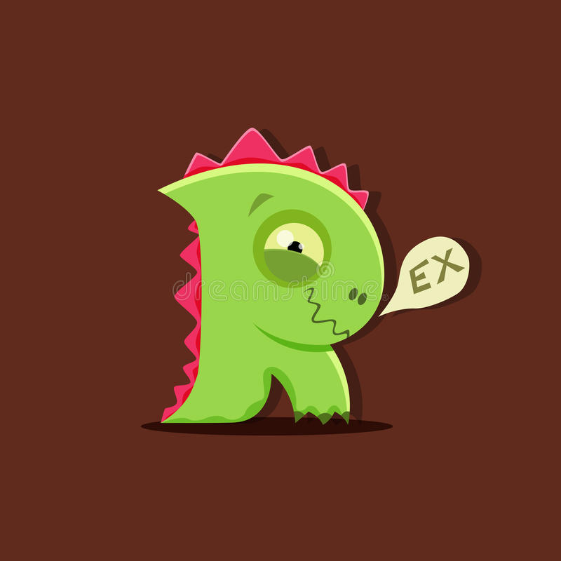 Rex del dinosaurio del vector en estilo lindo de los niños Letra R stock de ilustración