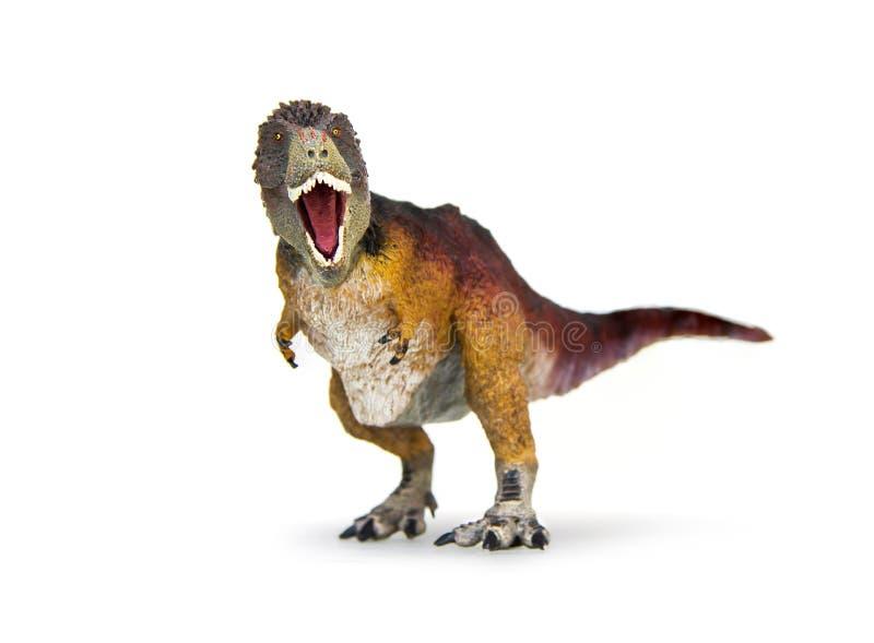 Rex del tiranosaurio del dinosaurio emplumado cubierto foto de archivo