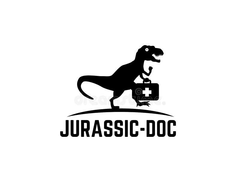 Rex del tiranosaurio que corre persiguiendo algo y sosteniendo la maleta médica del doctor libre illustration