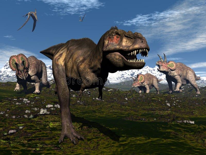 Rex do tiranossauro atacado pelo triceratops ilustração do vetor