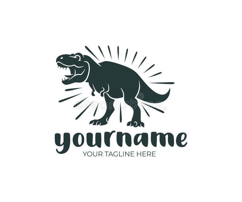 Rex do tiranossauro e dinossauro, animal pré-histórico, projeto do logotipo Animal, animal, animais selvagens e natureza, projeto ilustração royalty free