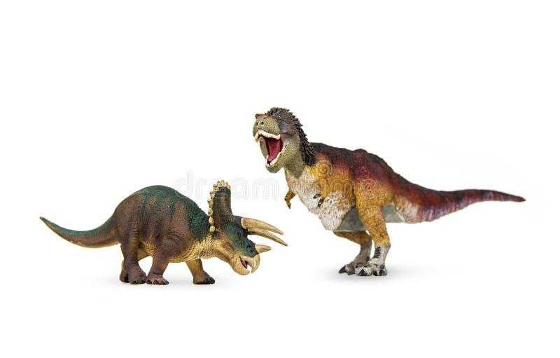 Rex för för dinosaurieantagonistTriceratops och tyrannosarie royaltyfria foton