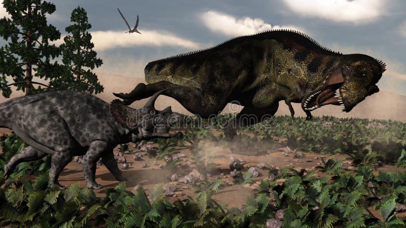 Rex que ruje em um triceratops - 3D do tiranossauro ilustração royalty free