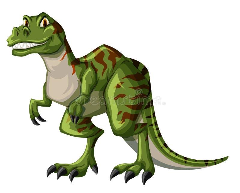 Rex verde di tirannosauro su fondo bianco illustrazione di stock