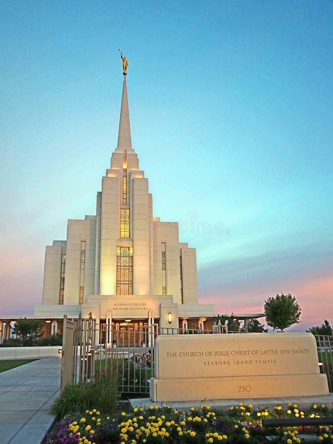 Rexburg, ID LDS Temple Mormon. Early Morning light on the LDS Temple in Rexburg, Id stock photos