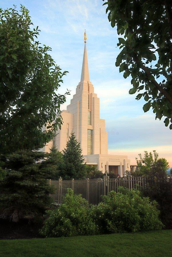 Rexburg, ID LDS Temple Mormon. Early Morning light on the LDS Temple in Rexburg, Id stock photo