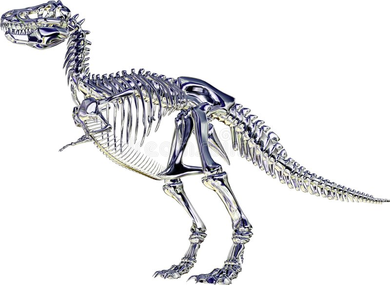 rexskeletttyrannosaurus stock illustrationer