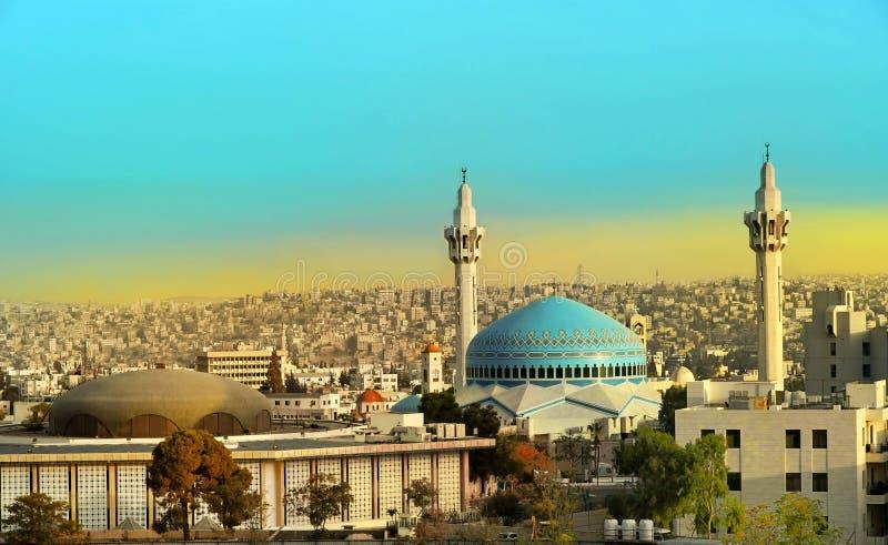 Rey Abdullah Mosque en Amman Jordania foto de archivo libre de regalías