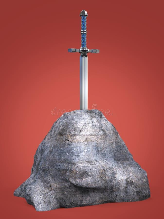 rey Arthur del excalibur de la espada se pegó en la piedra de la roca aislada rinde metáfora de la prueba del candidato del candi libre illustration