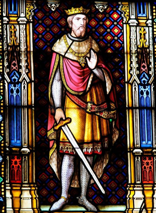 Rey Baldwin del cruzado III de Jerusalén - vitral en Brujas imagen de archivo libre de regalías