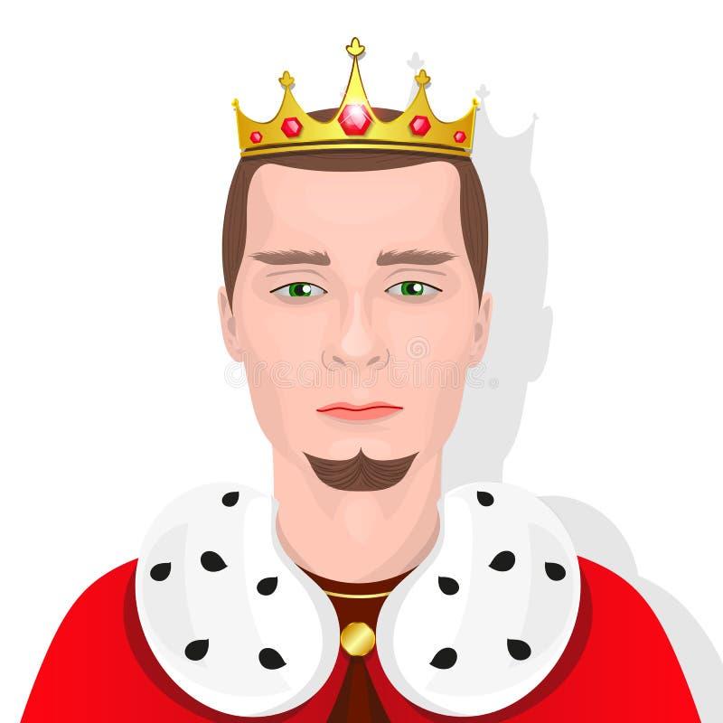 Rey barbudo con una corona stock de ilustración
