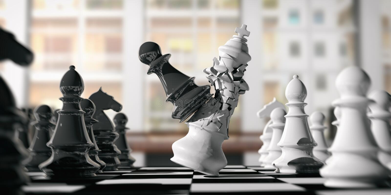 Rey blanco del ajedrez roto por un empeño negro, en un tablero de ajedrez, fondo de la falta de definición ilustración 3D stock de ilustración