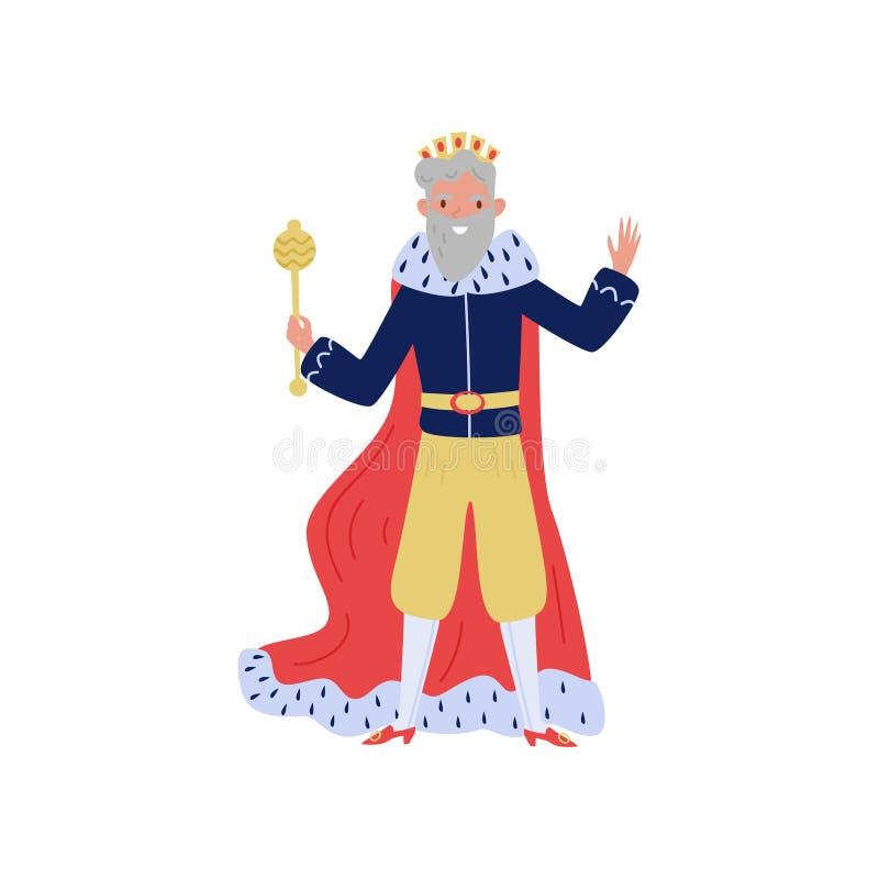 Rey cabelludo gris en la capa roja del armiño que se coloca con el scepeter, el cuento de hadas o el vector medieval europeo del  stock de ilustración