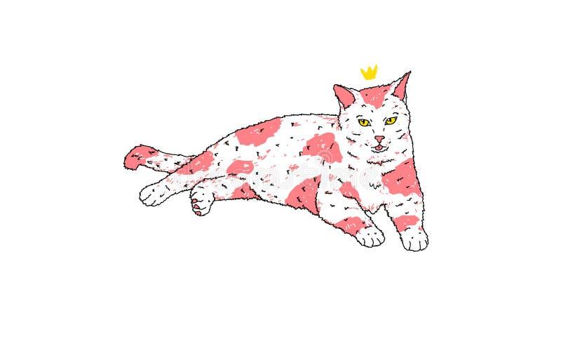 Rey Cat Illustration con la piel rosada fotos de archivo