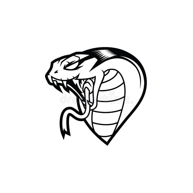 Rey Cobra Head Line Art Logo stock de ilustración