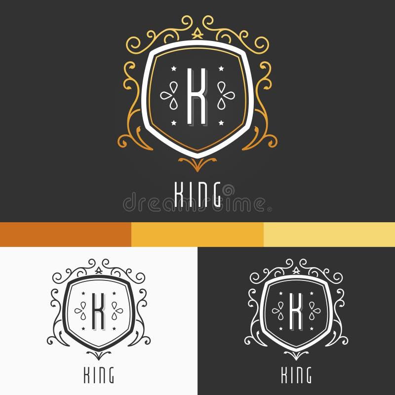 Rey Crest Ornament Template Elementos de la corona del vector Ejemplo del diseño del icono del emblema EPS10 stock de ilustración