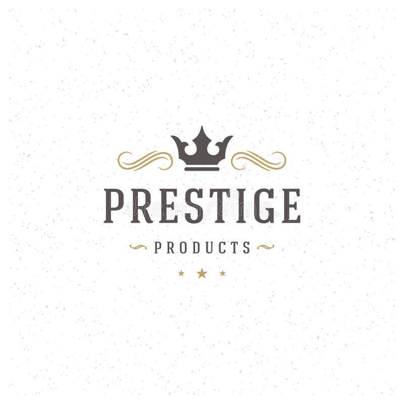 Rey Crown Logo Template Estilo del vintage del elemento del diseño del vector para el logotipo ilustración del vector