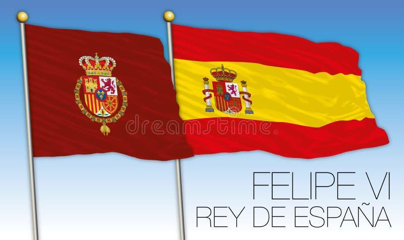 Rey de Felipe VI de la bandera de España y de la bandera española stock de ilustración