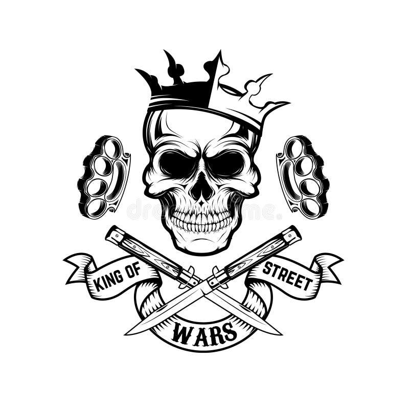 Rey de las guerras de la calle Cráneo en corona con la bandera y dos cruzados libre illustration