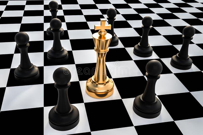 Rey de oro rodeado por los empeños negros - concepto de la trampa del ajedrez ilustración del vector
