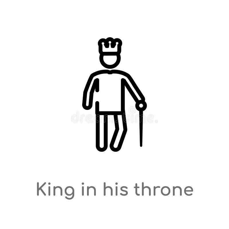 rey del esquema en su icono del vector del trono l?nea simple negra aislada ejemplo del elemento del concepto de la gente Vector  stock de ilustración
