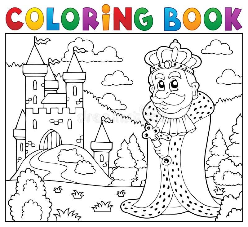 Rey del libro de colorear cerca del castillo ilustración del vector
