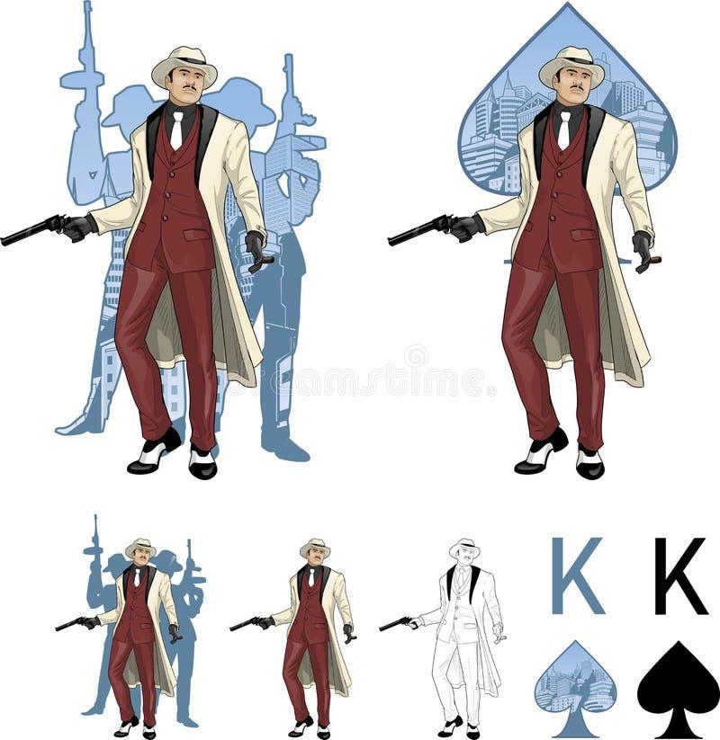Rey del padrino asiático del mafioso de las espadas con el equipo ilustración del vector