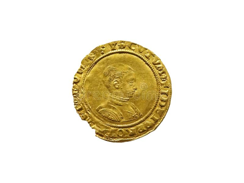 Rey Edward VI 1547 - de la moneda soberana del oro mitad 1553 imagen de archivo