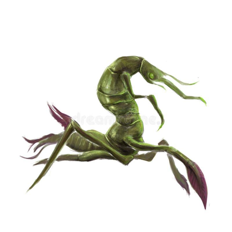 Rey feo del arte del concepto de las criaturas del insecto del bosque en el fondo blanco ilustración del vector