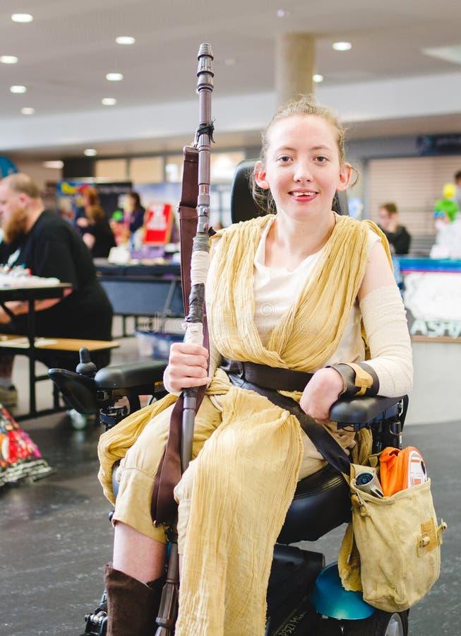 Rey från cosplay Star Wars royaltyfria bilder