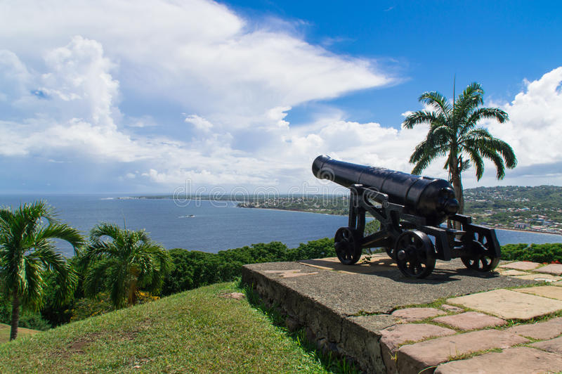 Rey George del fuerte en Scarborough, Trinidad y Tobago fotografía de archivo