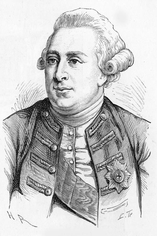 Rey George III, rey de Gran Bretaña y rey de Irlanda, ilustración del vector
