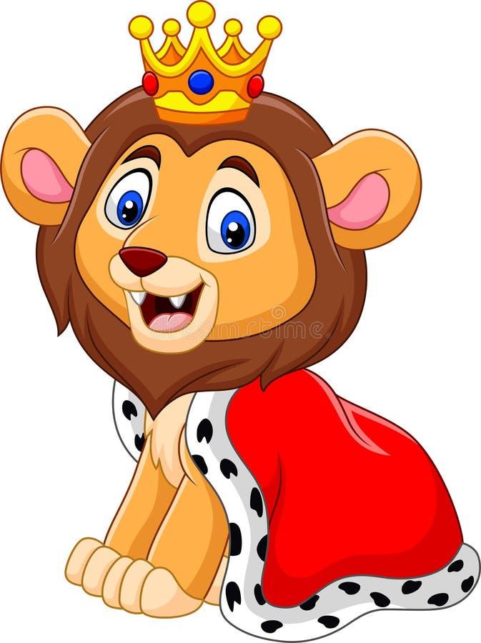 Rey lindo del león de la historieta stock de ilustración