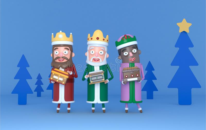 Rey mágico tres que se coloca en una escena azul con los árboles Aislado ilustración 3D ilustración del vector