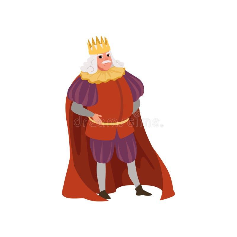 Rey majestuoso en el ejemplo medieval europeo del vector del carácter de la corona de oro en un fondo blanco ilustración del vector