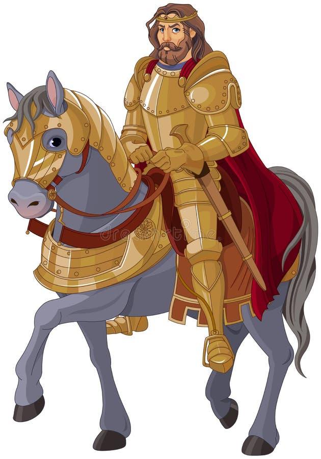 Rey medieval Horseback stock de ilustración