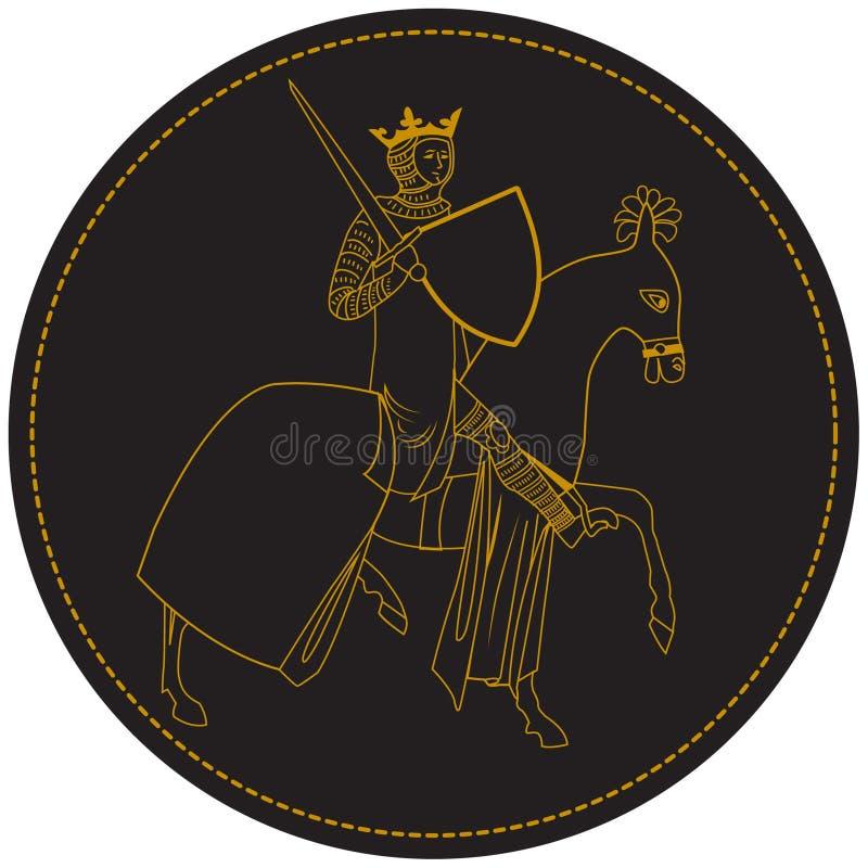 Rey medieval Knight, sirve a caballo con la corona y la espada Viejo sello en círculo ilustración del vector