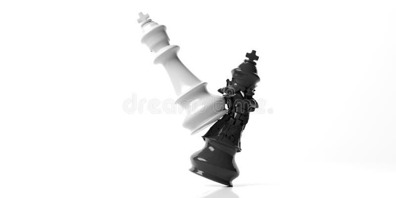 Rey negro del ajedrez roto por el rey blanco, aislado en el fondo blanco ilustración 3D stock de ilustración