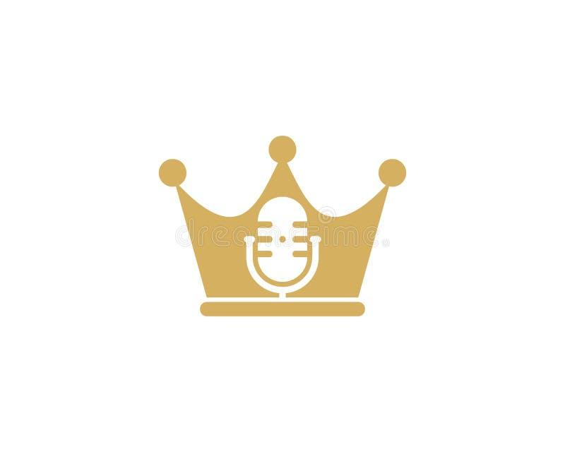 Rey Podcast Logo Icon Design ilustración del vector
